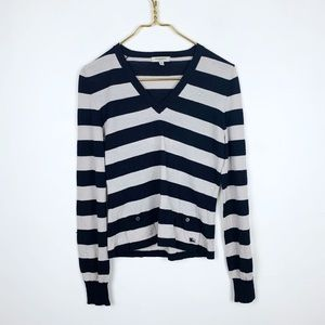 Burberry Striped V Neck Sweater With Pockets